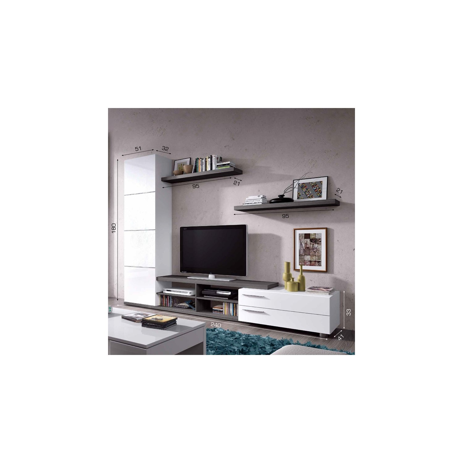 Promotion meubles sur internet meubles de salon for Meuble tv mural 240 cm blanc gris adhara