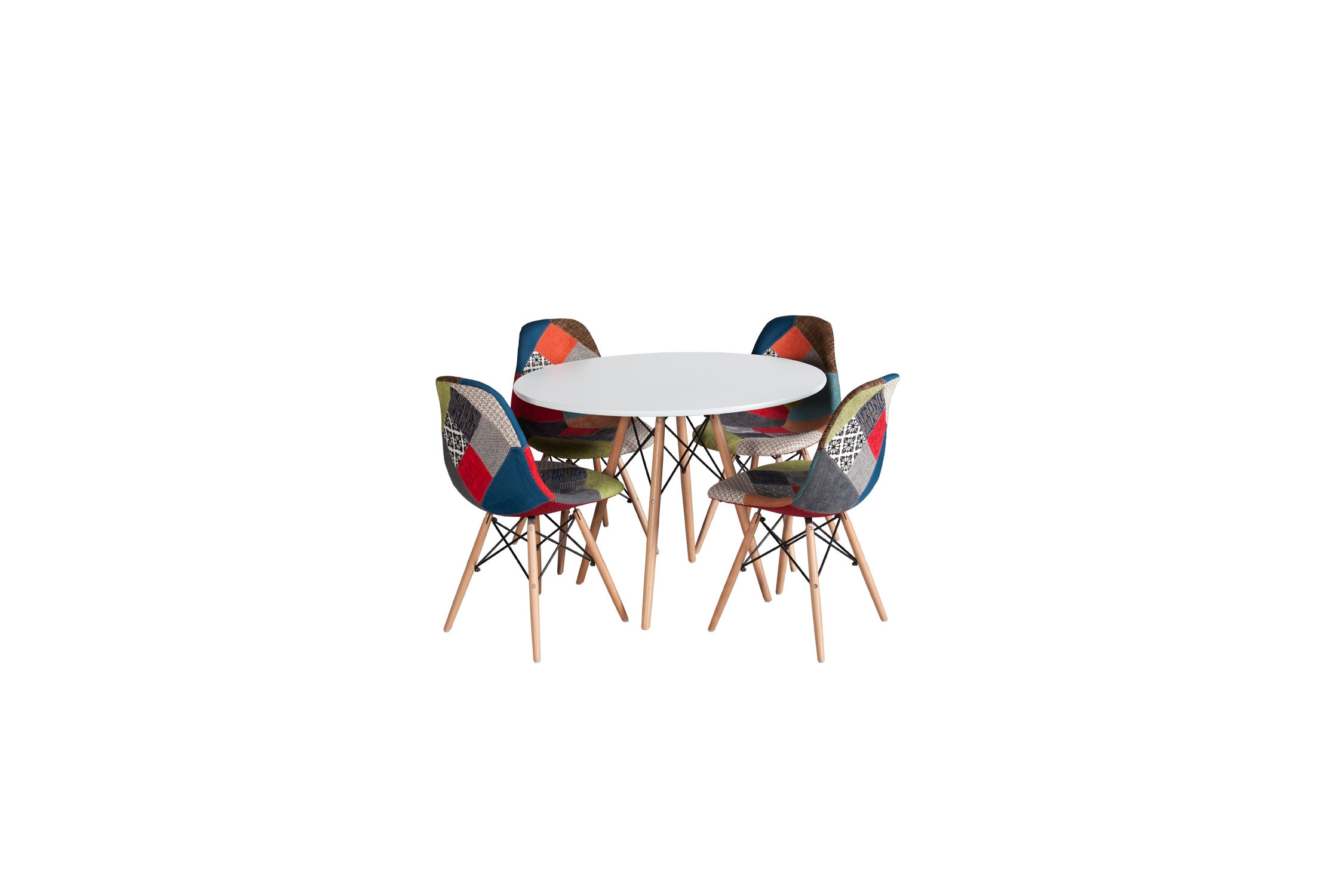 PACK TABLE TOWER WOOD ET 4 CHAISES TOWER WOOD PATCHWORK