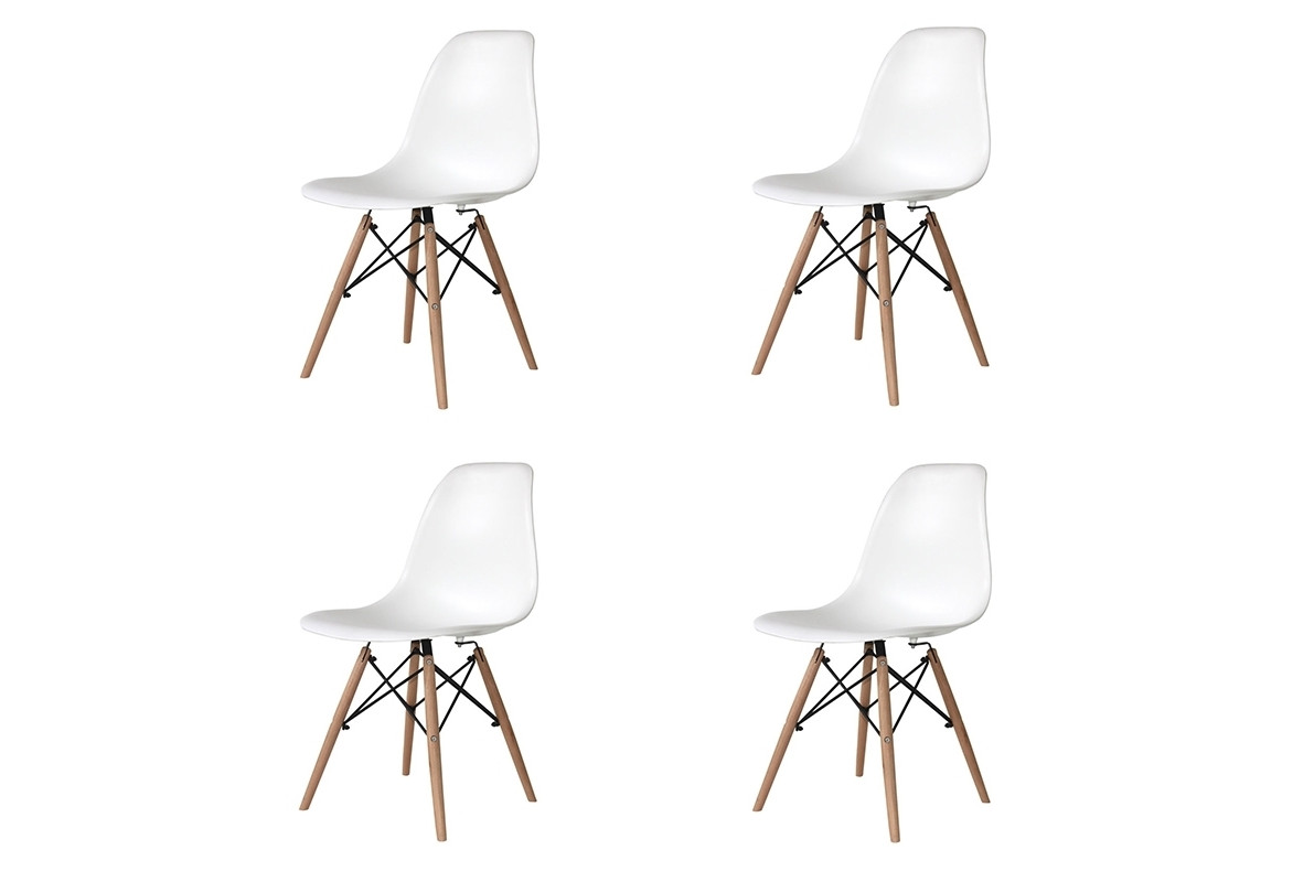 PACK 4 SILLAS TOWER WOOD BLANCAS EXTRA QUALITY