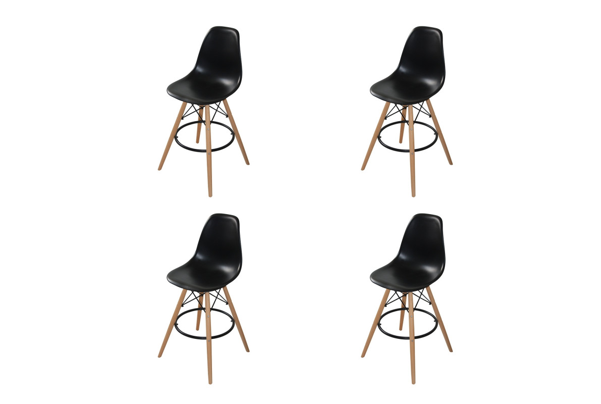 PACK 4 TABOURETS TOWER WOOD NOIRES