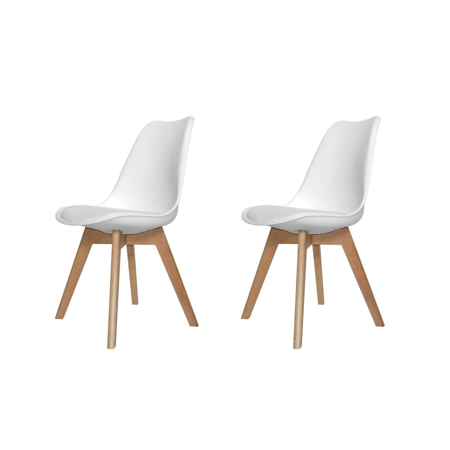 Pack de 2 sillas new tower wood blancas for Sillas de salon blancas