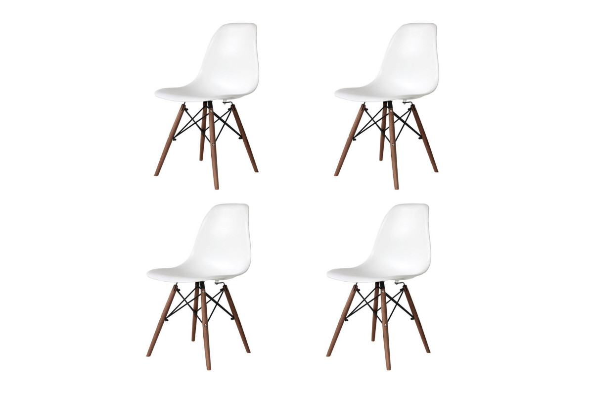 PACK 4 SILLAS TOWER WOOD BLANCAS PATAS WENGUE EXTRA QUALITY