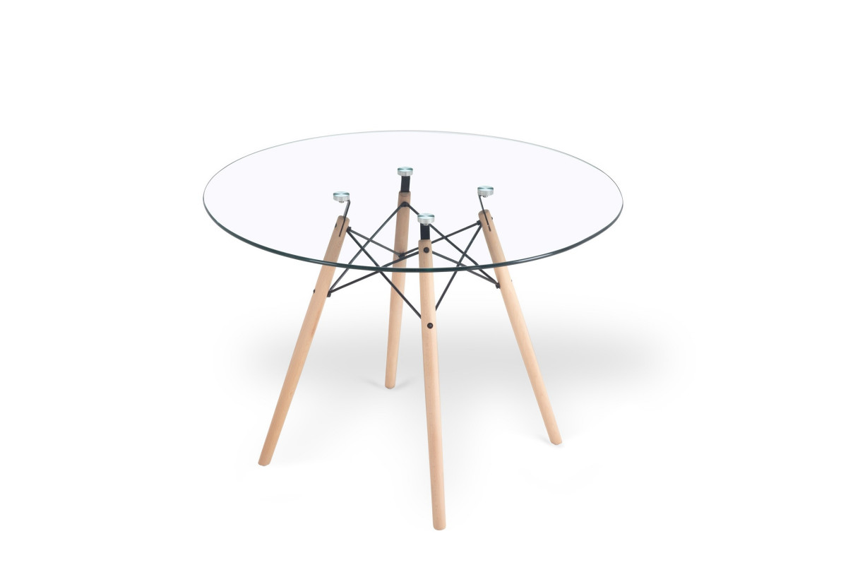 TABLE RONDE TOWER GLASS 100 CM