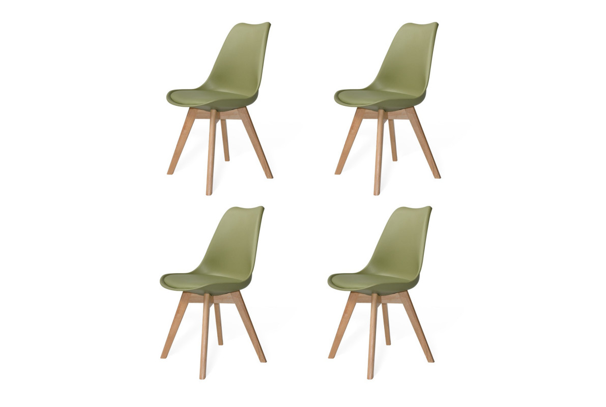 PACK 4 SILLAS NEW TOWER WOOD VERDE CAQUI