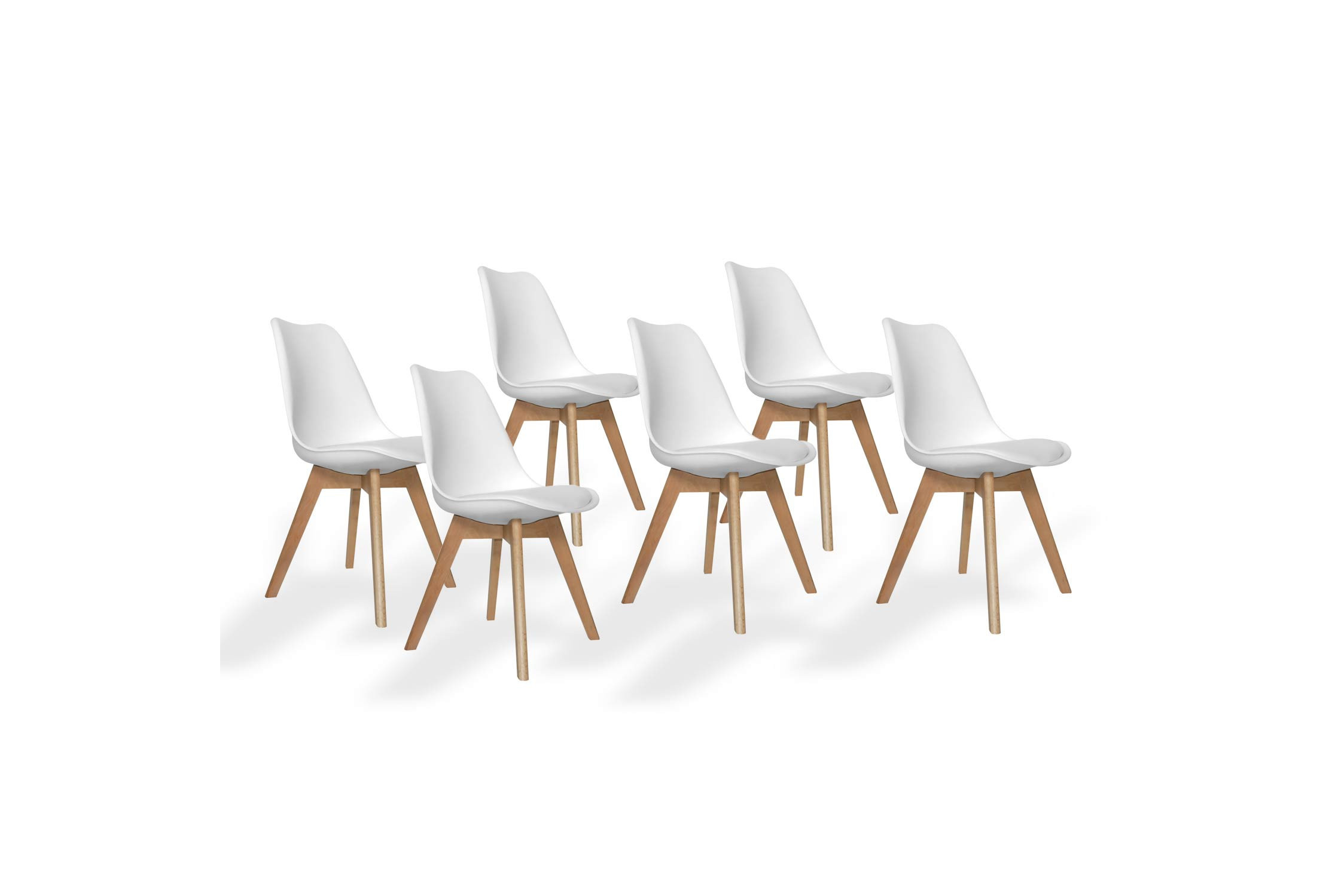 PACK 6 SILLAS NEW TOWER WOOD BLANCAS EXTRA QUALITY