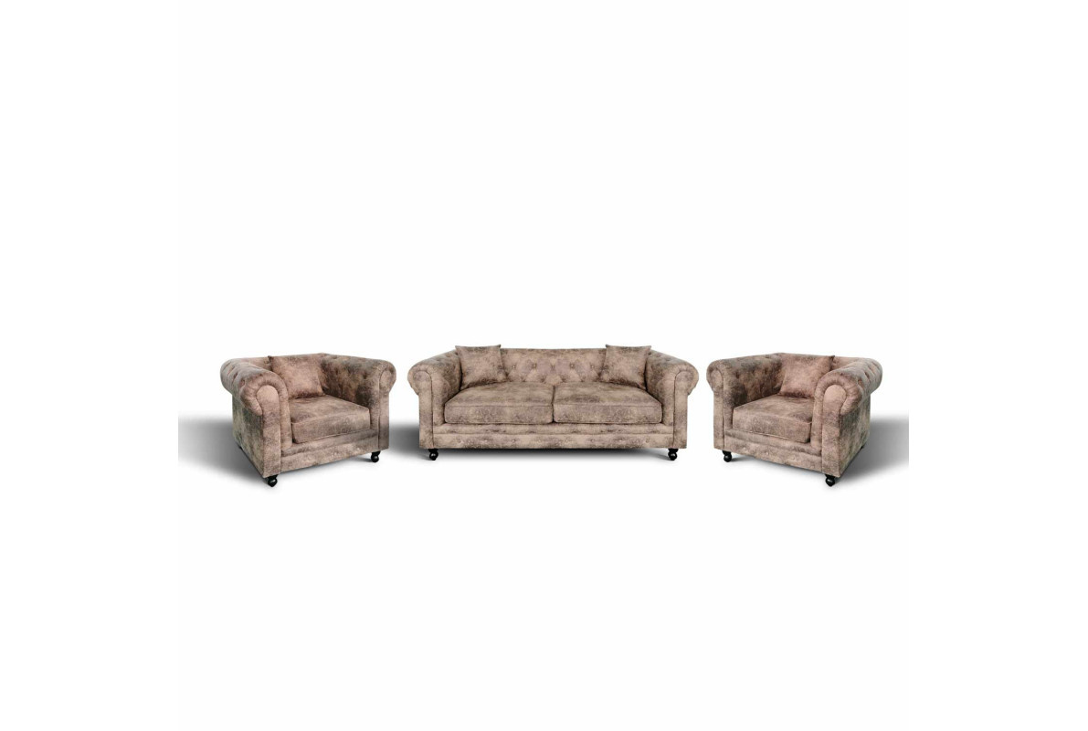 PACK CANAPÉ CHESTERFIELD 3 PLACES + 2 FAUTEUIL CHESTERFIELD