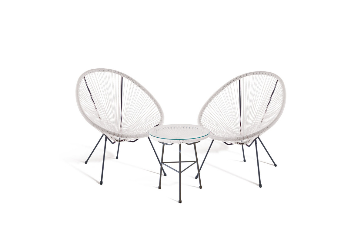 PACK 2 CHAISES ACAPULCO + TABLE ACAPULCO BLANC