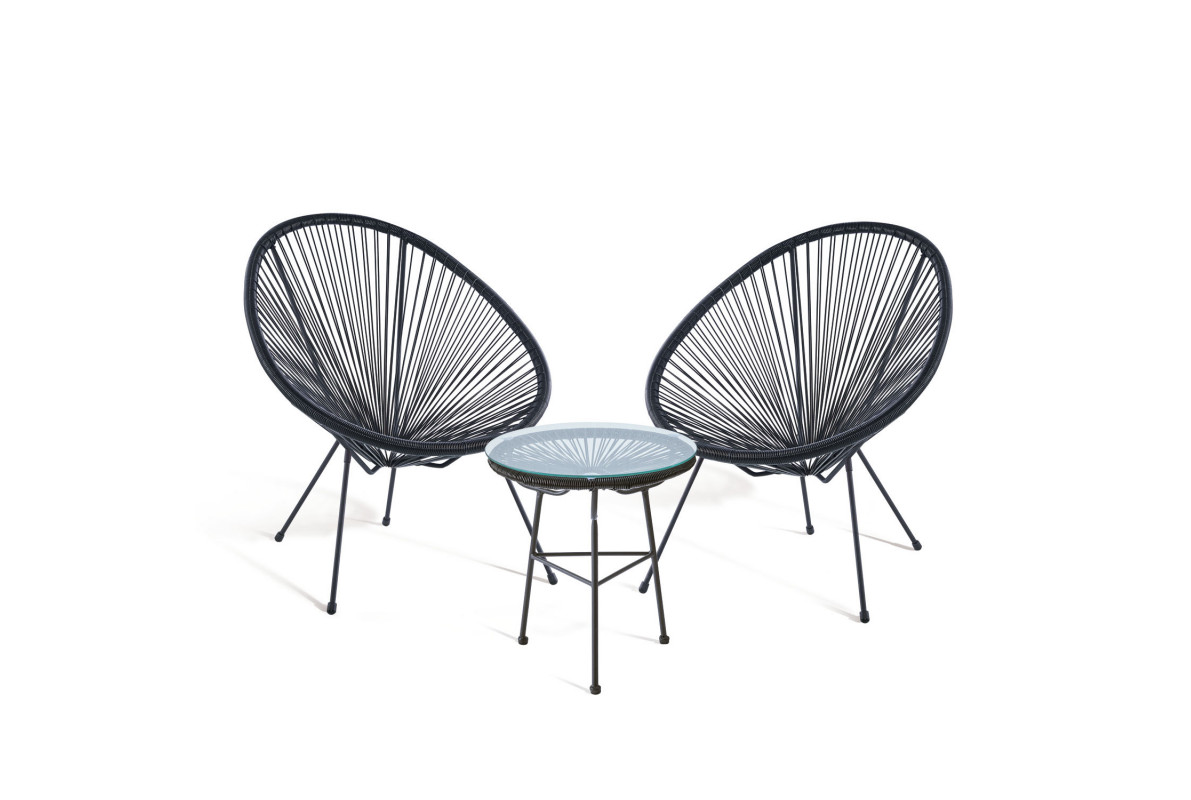 PACK 2 CHAISES ACAPULCO + TABLE ACAPULCO NOIR